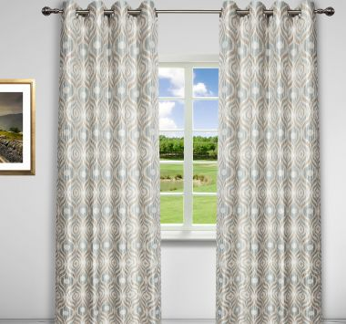 "Paris Lined Panel 52""x96"" Blue/Taupe, Cutrail (GCE34701)"