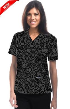 523T, MOBB® Stone Medley, 100% Cotton Print Crossover Scrub Top