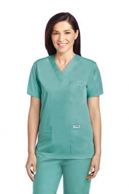 Mobb® 520T - 6 Pocket Solid V Neck Scrub Top