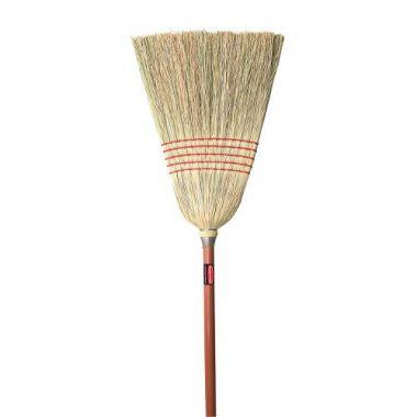 "Corn broom standard 1"" staine lacquere handle 24lb"