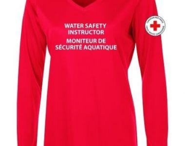 CANADIAN RED CROSS RED WOMENS WATER SAFETY INSTRUCTOR RASHGUARD SHIRT