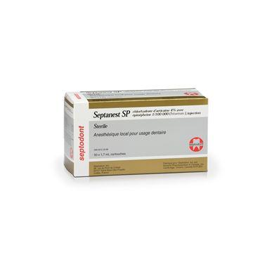 Septodont Septanest SP Gold Articaine HCI 4% with 1:100,000 epinephrine injection 50/box