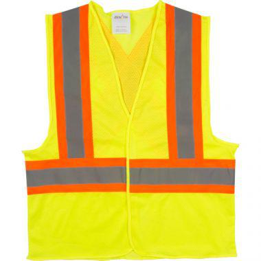 Traffic Safety Vest, High Visibility Lime-Yellow, Medium, Polyester, CSA Z96 Class 2 - Level 2