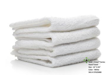 """Gold + Cross™ Quick Dry Institutional Terry Cotton Hand Towels 15""""x25"""" wt. 2.20 lbs/dz. White 12/Pack"""