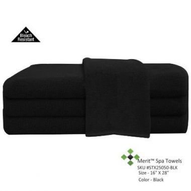 Merit™Collection Bleach Shield® Salon Towel 16x28 wt. 2.80 lbs/dz Black