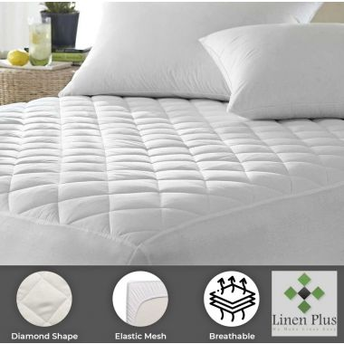 """Supertex™ Commercial Contour Mattress Pads/Topper DOUBLE Size 54""""x 80""""x 15"""" Fitted Elastic Finish White"""