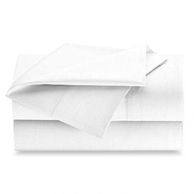 Opulence 250 Thread Count 60/40 Cotton/Polyester Luxury Percale Hospitality Flat Sheets, White   Linen Plus