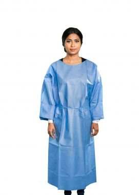 AAMI LEVEL 3  Disposable Isolation Gown SMS 45 GSM Blue