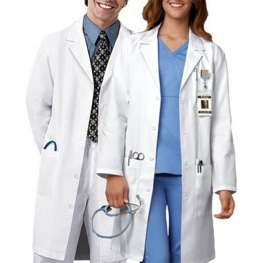 Gold + Cross™ Unisex Lab Coat, 3 pocket, Button 65/35 Cotton/Polyester White 2XS -3XL