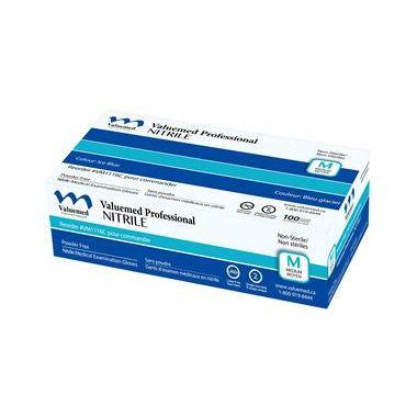 Valuemed Professional Nitrile Exam Gloves, Blue, Powder Free 100/box - Large