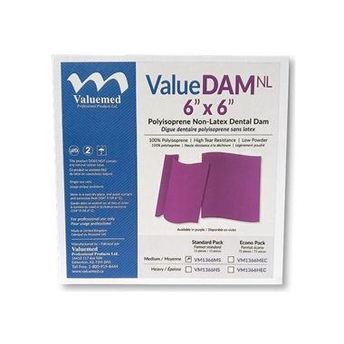 ValueDAM NL, Non Latex Dental Dams 6x6 Medium Economy Pack 75/box, Purple