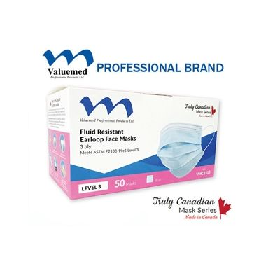 Valuemed Professional Truly Canadian Earloop Face Masks Level 3 Blue, 50/box