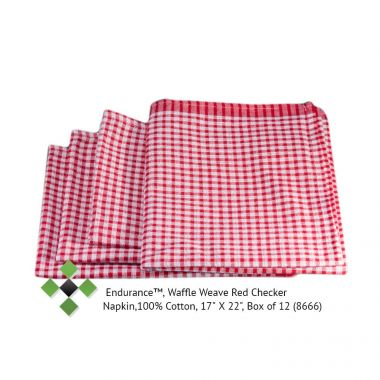 Endurance™, Waffle Weave Red Checker Napkin,100% Cotton, 17