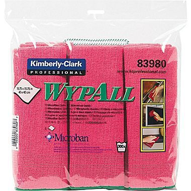 WYPALL Microfibre Cloths, Red, Pack of 6