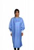 Microfiber Isolation Gown Wraparound Design LEVEL 3 Certified Fabric 99% Polyester / 1% Carbon Microfiber, 0.5cm Antistatic - Blue